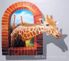 hot deer animal 3d wall painting handpainted oil painting on 3d painting on wall