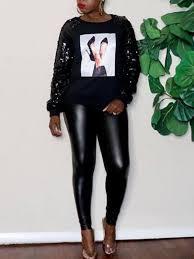 <b>Black Cartoon Print</b> Sequin Long Sleeve Sparkly NYE <b>Casual</b> ...