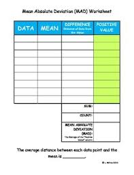 Mean Absolute Deviation Chart Free Mean Absolute Deviation Mad Worksheet