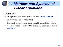 1 1 matrices and systems of linear equations