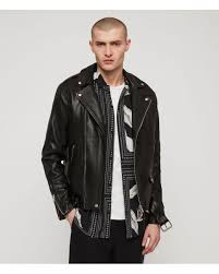 allsaints black manor leather biker jacket for men lyst