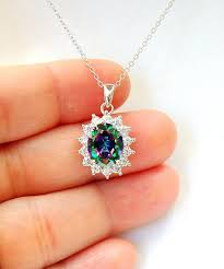 mystic topaz necklace sterling silver rainbow topaz free usa topaz jewelry mystic topaz gemstone pendant layering necklace