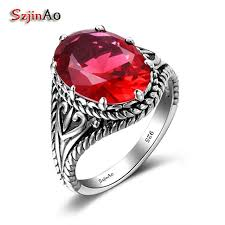 szjinao custom chionship rings hiphop rock red ruby pure handmade 925 sterling silver luxury brand