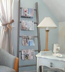 An old ladder makes a great magazine rack for a reading nook