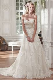 picture of romantic lace and tulle a line wedding dress with an