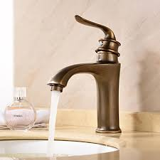 antique deck mounted ceramic valve single handle one hole antique brass bathroom sink faucet