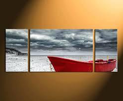 boat wall art red black and white wall decor beautiful 3 piece wall decor panoramic multi boat wall art