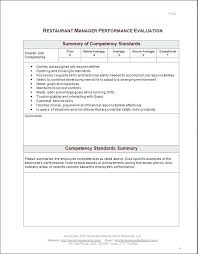 Restaurant Manager Review Forms Restaurant Manager Performance Uation Form Job Evaluation Sample