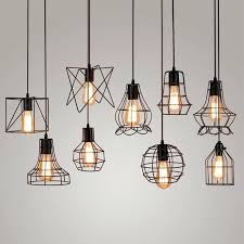 vintage industrial metal cage pendant light hanging lamp bulb lighting fixture new loft lamps for bar