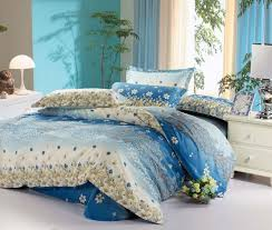 blue bedding and matching curtains