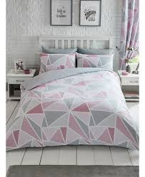 metro geometric triangle single duvet cover set pink grey