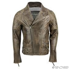 xposed men real leather biker jacket vintage washed