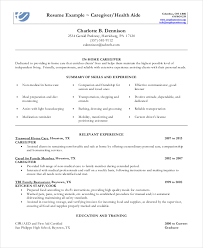 Caregiver Resume Template Adorable Caregiver Resume Example 48 Free Word PDF Documents Download