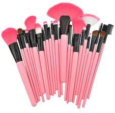 harajuku cute 24 pcs set makeup brush cosmetic set kit packed leather case pink