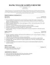 Resume Objective For A Bank Teller Bank Teller Resumes Resume Sample