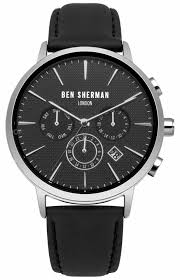 ben sherman mens black leather strap watch wb028b ben sherman london wb028b