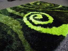 black and lime green rugs