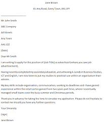 School Leaver Job Application Covering Letter Example