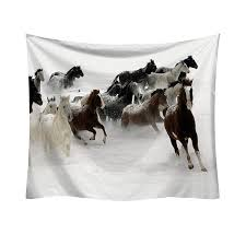 hippie pretty horses pattern tapestry picnic mat yoga rug polyester wall hanging bedding home decor craftstapestry w3 new lp 6 big tapestry big wall