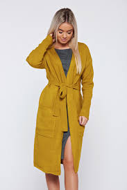 top secret mustard yellow casual flared cardigan accessorized with tied waistband