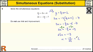simultaneous equations gcse further maths revision exam paper practice help