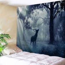 mist forest deer tapestry wall hangings in blue gray w59 inch l79