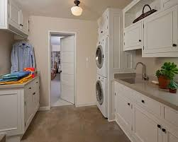 ... Laundrym Small Design With Beige Wall Paint Color Also White Wooden  Cabinets And Pendant Light Indoor ...