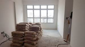 the cement screed materials loaded and placed in the house this usually happens after you