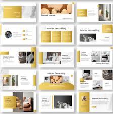 Design Presentation Templates Gold Creative Interior Design Powerpoint Template