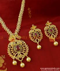 nckn205 cubic zircon stone party wear pearl necklace set with ear rings south indian jewelry 1100 1a 850x1000 jpg