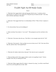 twelfth night study questions twelfth night act iii study guide honors british literature