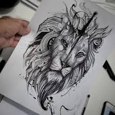 эскиз татуировки лев 44711 тату салон дом элит тату