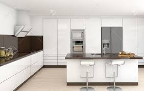 White Modern Kitchen Interior Design Of A Modern Kitchen In White And Brown Colors