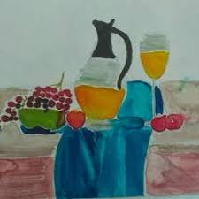 this next artwork is just an experimentation of patterns in a simple still life drawing i used only lead pencil i like the patterns and the shapes in this