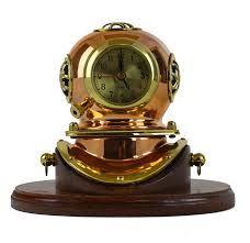 7 5 h brass and wood diving helmet clock with base and lacquer coating 179 95 made of solid brass and wood this item measures approx
