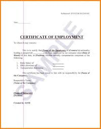 Employment Certificate Letter Sample For Visa Applicati Printable