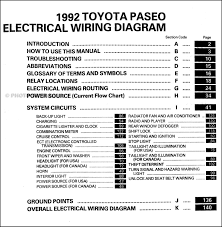 1992 toyota paseo wiring diagram manual original table of contents