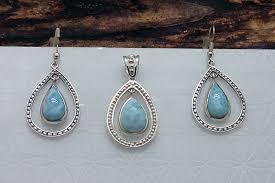 larimar teardrop pendant earrings 4150