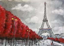 learn to paint a simple eiffel tower paris france cityscape acrylic painting black and white canvas with red trees easy diy how to paint project for