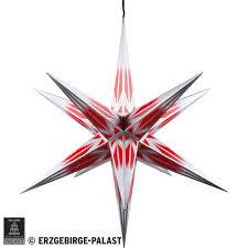 Haßlauer Weihnachtsstern Für Innen Und Außen Rotweiß Mit Silbermuster Inkl Beleuchtung 75 Cm
