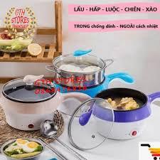 Nồi lẩu điện mini 2 tầng đa năng chống dính 18cm Tặng xửng hấp+Chai Thủy  tinh đựng nước, Ca nấu mì nấu lẩu [CHÂN CẮM 2 C