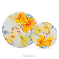 <b>Тарелка HOME CAFE</b> Желтые цветы, 23,8см, стекло   www.gt-a.ru