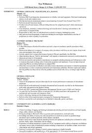 Mechanic Resume General Mechanic Resume Samples Velvet Jobs 32