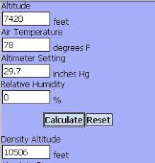 Density Altitude Computation Chart Manual Calculation Of Density Altitude