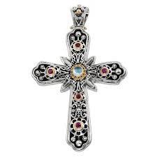 gerochristo 5240n solid gold sterling silver multi stone byzantine large cross pendant