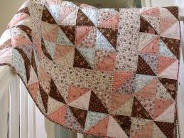 handmade baby quilt modern patchwork quilt crib quilt play mat quilt cover childs quilt with pink blue brown triangle pattern