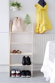 DIY Ladder Shelf Shoe Storage