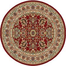 home dynamix royalty red 5 ft x 5 ft round indoor area rug 6r 8079 200 the home depot