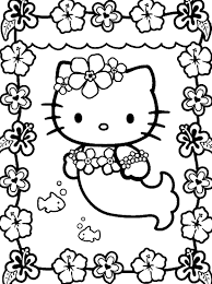 Hello Kitty Mermaid Coloring Pages Free Print Printable Coloring