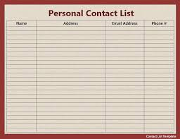 Contacts Template Word 24 Contact List Template Printable Word Excel Templates 1